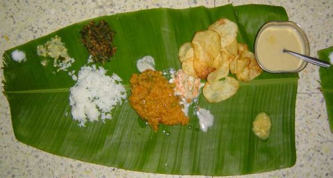 Lunch from Karanataka on Plantain leaf